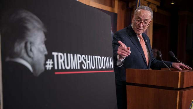 Senate Minority Leader Chuck Schumer responds to a question from the news media during a press conference as the Senate continues work on ending the government shutdown in Washington, D.C., on Jan. 20, 2018.