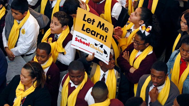 Students from charter, private, parochial and home schools participate in a school choice proponents rally Tuesday, Jan. 23, 2018, at the Capitol in Jackson as prospects remain unclear for House and Senate bills that would expand programs to spend public money to pay for students to attend private schools.