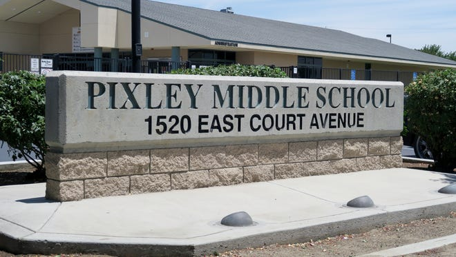The outside of Pixley Middle School, taken June 8, 2017.