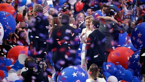 Democratic presidential nominee Hillary Clinton speaks