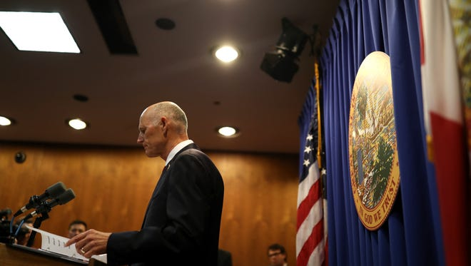 Gov. Rick Scott speaks from the Capitol Friday unveiling a $500 million plan to address safety in schools following the mass shooting at Marjory Stoneman Douglas High School that killed 17 people last week.