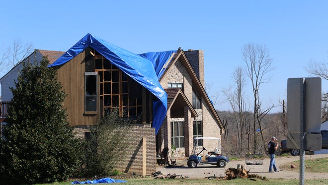 Hundreds or more trees were ripped out of the grown in Dotsonville by a tornado Saturday.