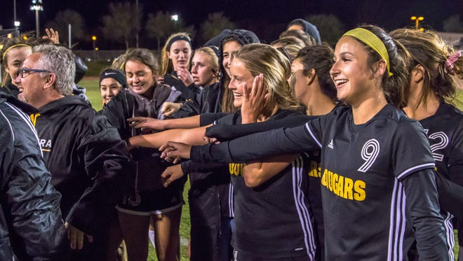 Senior defender Sammy Zanini, right, has been the captain of the Ventura High girls soccer team since before her sophomore season kicked off.