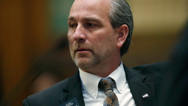 Colorado State Rep. Steve Lebsock, D-Thornton, listens during a debate in the chamber whether to expel the lawmaker over sexual misconduct allegations from his peers Friday, March 2, 2018, in the State Capitol in Denver. The effort faces tough odds amid Republican objections to how the complaints have been handled. (AP Photo/David Zalubowski)