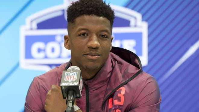 Memphis Tigers wide receiver Anthony Miller speaks to the media Friday during the 2018 NFL Combine at the Indianapolis Convention