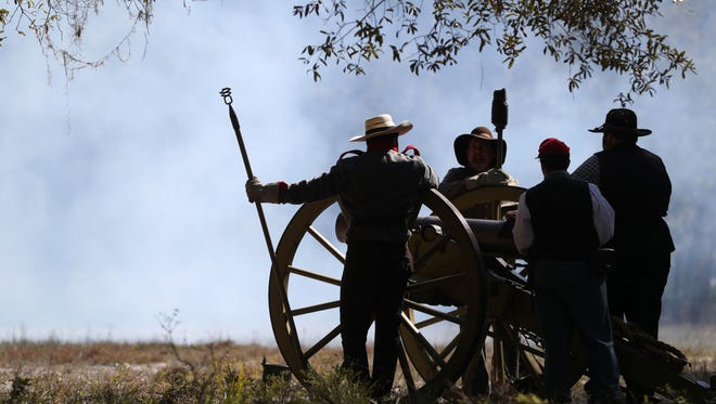 Civil War reenactors act as living historians at the Natural Bridge Battlefield Historic State Park for the 41st annual battle reenactment at the site, commemorating the 153rd anniversary of the battle 12 miles south of Tallahassee.