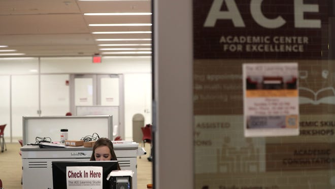 Students study at the Academic Center for Excellence on FSU's campus Wednesday, March 7, 2018.