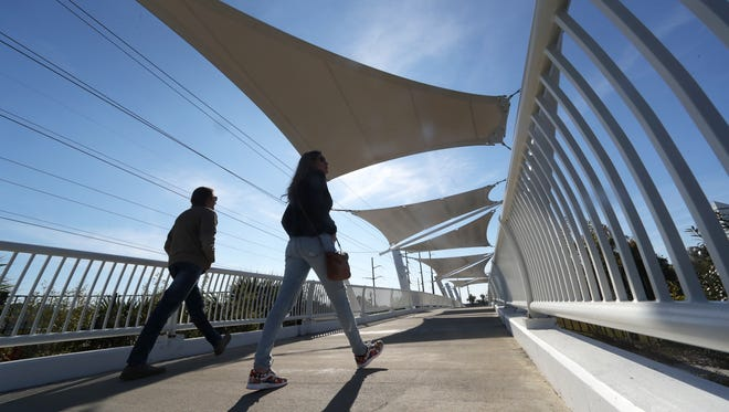 The Cascades Connector Bridge cost $7.2-million price, which came from $5.8 million of Blueprint sales tax funds and $1.4 million from the Florida Department of Transportation.
