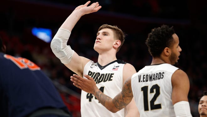 Mar 16, 2018; Detroit, MI, USA; Purdue Boilermakers center Isaac Haas (44) reacts after missing a free-throw in the first half against the Cal State Fullerton Titans in the first round of the 2018 NCAA Tournament at Little Caesars Arena. Mandatory Credit: Raj Mehta-USA TODAY Sports