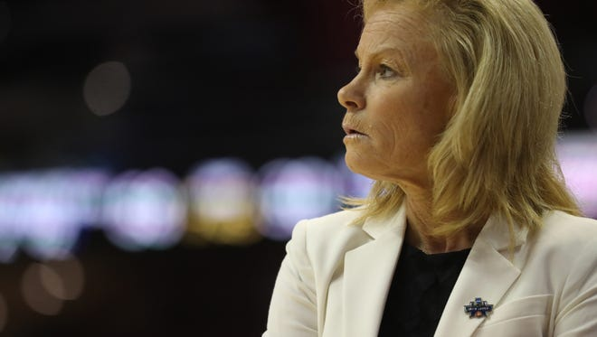 FSU Head Coach Sue Semrau watches from the sidlines as they take on Arkansas Little Rock during their NCAA matchup at the Tucker Civic Center on Saturday, March 17, 2018.