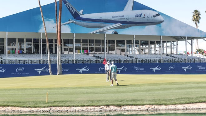 Golfers on 18 as preparation for the ANA Inspiration LPGA golf tournament next week continues at the Mission Hills Country Club in Rancho Mirage. Photo taken on Friday, March 23, 2018.