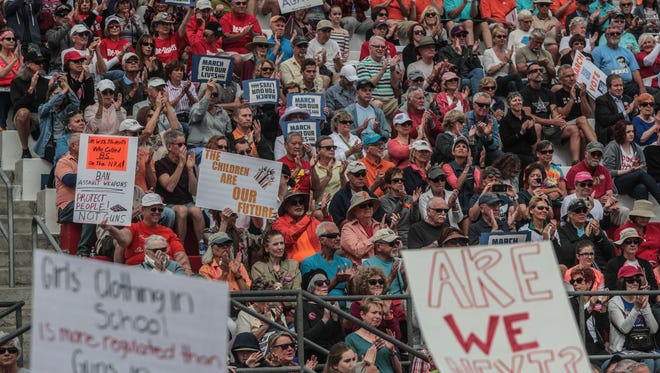 People packed Palm Springs High School stadium in participate in the Palm Springs March for Our Lives on Saturday, March 24, 2018. Palm Springs joined hundreds of other marches held around the world fighting for gun restrictions.