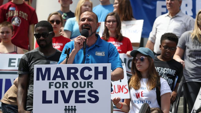 Leon County SchoolSuperintendentRocky Hanna speaks to the thousands of people gathered in the March for Our Lives movement at Florida's Capitol on Saturday in Tallahassee, Fla., joining millions around the nation and the world is support of gun law reform.