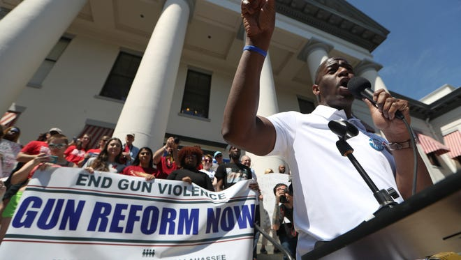 Tallahassee Mayor and Florida gubernatorial candidate Andrew Gillum speaks to the thousands of people gathered in the March for Our Lives movement at Florida's Capitol on Saturday in Tallahassee, Fla., joining millions around the nation and the world is support of gun law reform.