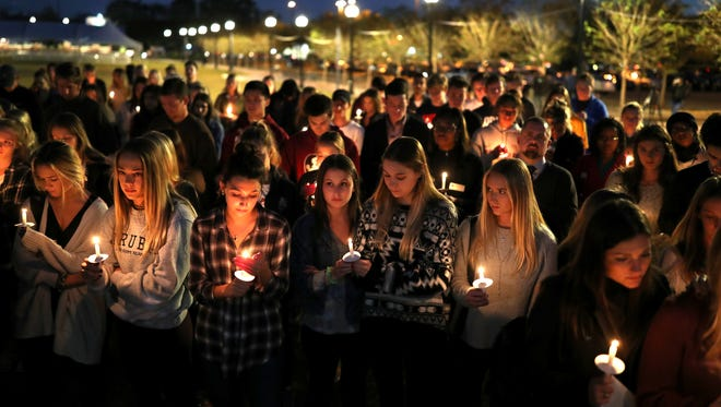 On Nov. 15, 2017, hundreds gathered for a vigil in memory of Andrew Coffey, a pledge of FSU's Pi Kappa Phi fraternity, died on Friday, Nov. 3, 2017 after an off-campus party.
