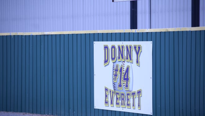 Former Clarksville High baseball star Donny Everett's name and number are inlcuded on the outfield wall at Clarksville High. The Donny Everett Baseball Tournament is set to begin Thursday at two sites, CHS and Rossview.