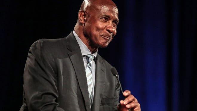 Lynn Swann, retired NFL player and broadcaster gives the keynote speech at the Boys and Girls Club of Coachella Valley's Sports Hero Luncheon on Wednesday, April 11, 2018 in Indian Wells.
