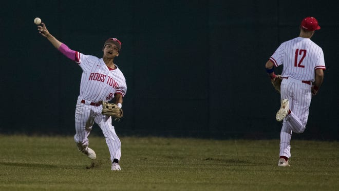 Robstown's Joe Robert Velasquez throws the ball during their game against Sinton on Tuesday, April 10, 2018 at Steve Castro Field in Robstown.