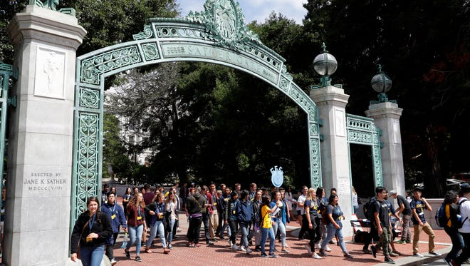 In this Aug. 15, 2017, file photo, students walk on the UC Berkeley campus.