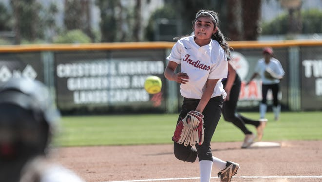 Palm Springs' Jazmine Lara pitches against Shadow Hills on Friday, April 13, 2018 in Palm Springs.