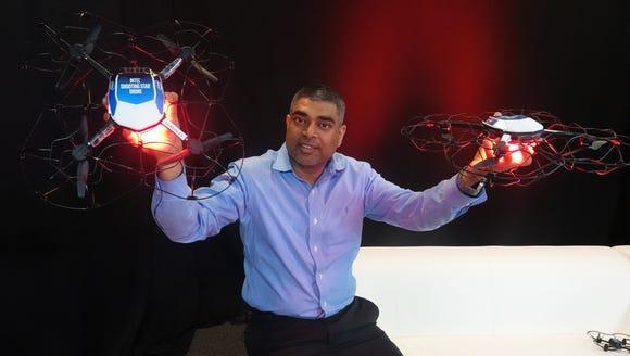 Anil Nanduri, VP & GM of Intel's drone team shows off