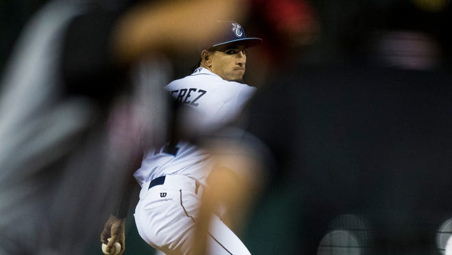 Hooks' Cionel Perez pitches against the Arkansas Travelers during their game on Monday, April 16, 2018 at Whataburger Field.
