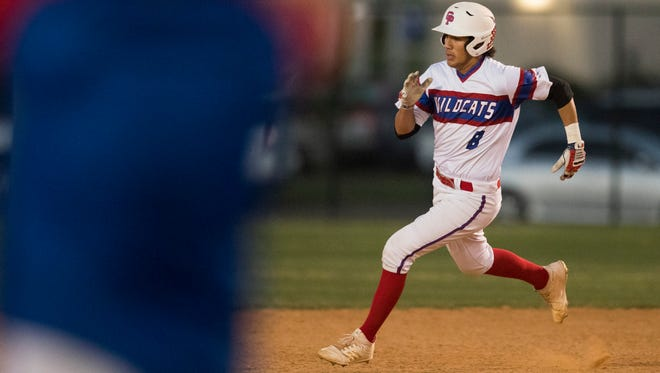 Gregory-Portland's Austin Ochoa runs to second base during their game against Calallen on Tuesday, April 17, 2018 at Gregory-Portland.