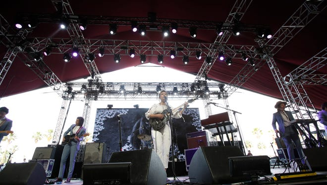 Angel Olsen performs on the Gobi stage at the 2018 Coachella Valley Music and Arts Festival in Indio, California. Saturday 20, 2018