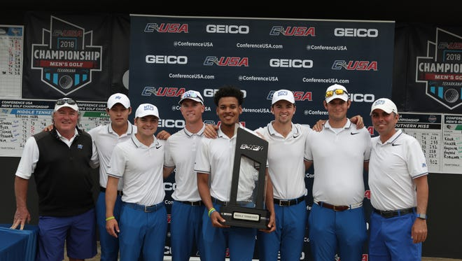 The MTSU men's golf team defeated UAB at the Texarkana Country Club on April 25, 2018 to claim its first Conference USA championship.