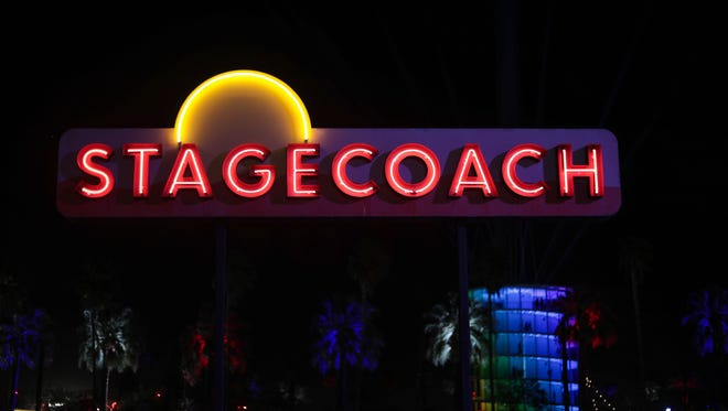 Apr 29, 2018; Indio, CA, USA; Lights and signs at the Stagecoach Country Music Festival at Empire Polo Club. Mandatory Credit: Vickie Connor/The Desert Sun via USA TODAY NETWORK