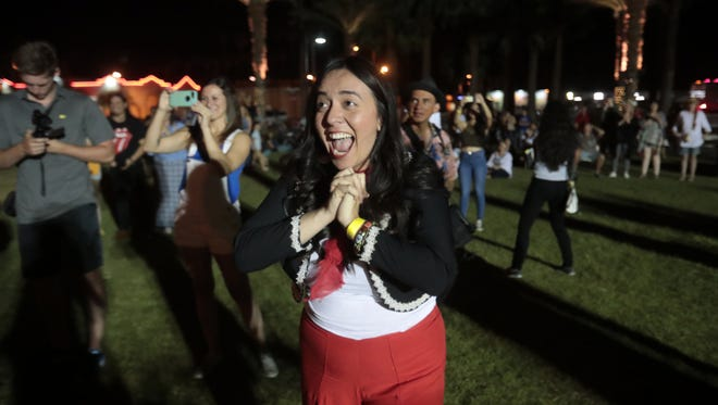 Giselle Woo and the Night Owls react to winning the  Tachevah 2018 Showcase on May 5th in Indio.