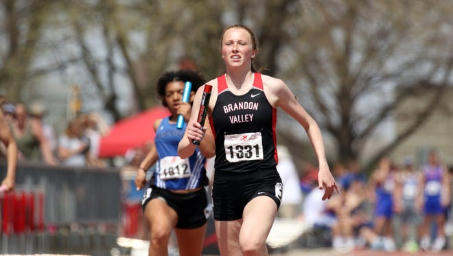 Krista Bickley of Brandon Valley runs the anchor leg of the 4x200 relay on May 5 at the Howard Wood Dakota Relays in Sioux Falls.