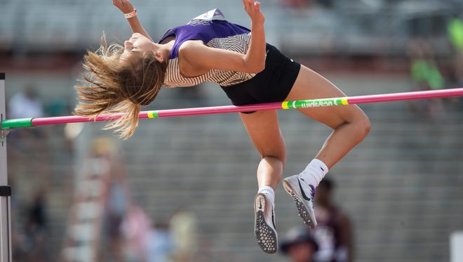 Early's Trinity Tomlinson on Friday wins the 3A girls high jump during the UIL State Track and Field Championships at Mike A. Myers Stadium in Austin.