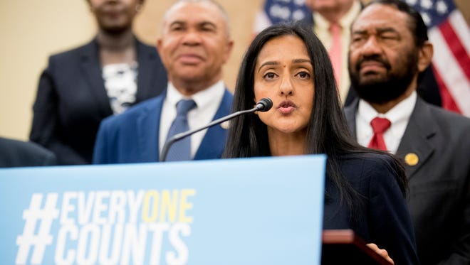 Leadership Conference For Civil And Human Rights President and CEO Vanita Gupta speaks at a news conference on Capitol Hill in Washington, D.C., May 8, 2018.