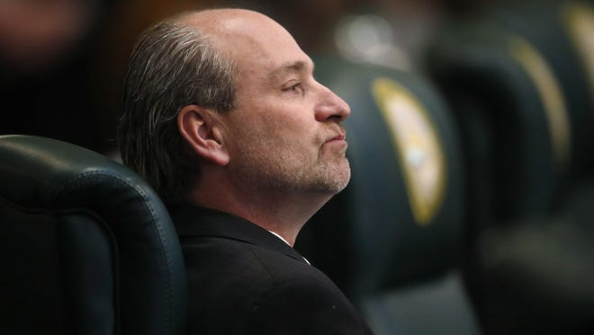 In this Friday, March 2, 2018, file photo, former Colorado State Rep. Steve Lebsock, D-Thornton, listens during a debate in the chamber whether to expel the lawmaker over sexual misconduct allegations from his peers in the State Capitol in Denver. Lawmakers have decided to let new leaders next year adopt updates to a harassment policy that could provide stricter ground rules for deterring inappropriate behavior.