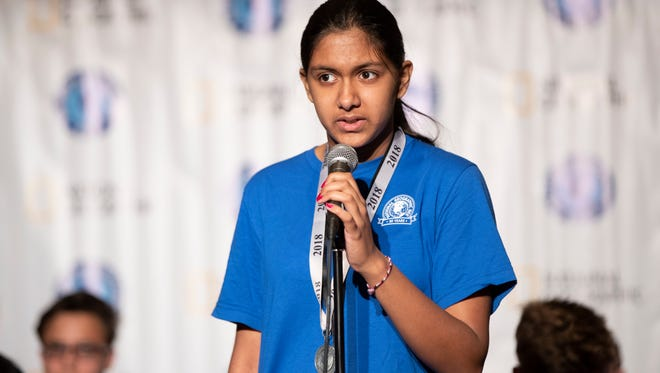 Anoushka Buddhikot of New Jersey answers a question during the 2018 National Geographic Bee preliminary round held in Washington, D.C., on May 21. #NatGeoBee