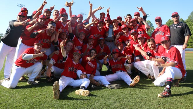 The Rhodes baseball team celebrates its second SAA conference championship in a row.