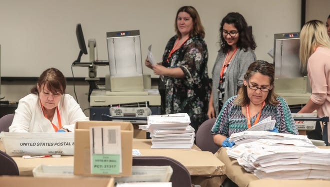Two election workers pictured in the front open mail-in-ballots to be fed into machines to be counted on Friday, June 1, 2018 at the County of Riverside Registrar of Voters in Riverside.