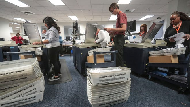 Election workers feed mail-in-ballots into machines to be counted on Friday, June 1, 2018 at the County of Riverside Registrar of Voters in Riverside.