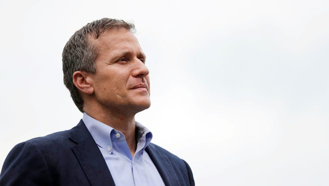 Missouri Gov. Eric Greitens waits to deliver remarks to a small group of supporters near the Capitol on Thursday in Jefferson City. Greitens? attorneys have pushed for trial-like proceedings in a special session called by the legislature to consider impeachment, but it appears that won?t happen.   Jeff Roberson/AP Missouri Gov. Eric Greitens stands off to the side before stepping up to the podium to deliver remarks to a small group of supporters near the Capitol announcing the release of funds for the state's biodiesel program Thursday, May 17, 2018, in Jefferson City, Mo. (AP Photo/Jeff Roberson)