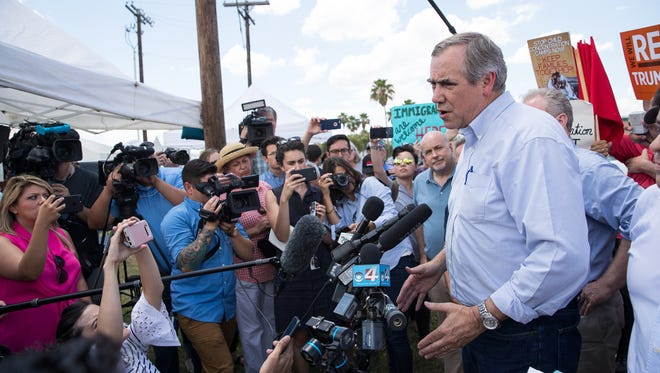 Sen. Jeff Merkley, of Oregon, gives a statement outside the Border Patrol Processing Center in McAllen on Sunday, June 17, 2018. He and other lawmakers are calling for an end to the practice of separating undocumented minors from their parents as they enter the United States illegally.