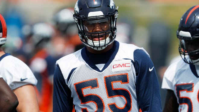 Denver Broncos linebacker Bradley Chubb takes part in drills at the NFL football team's training camp earlier this month.