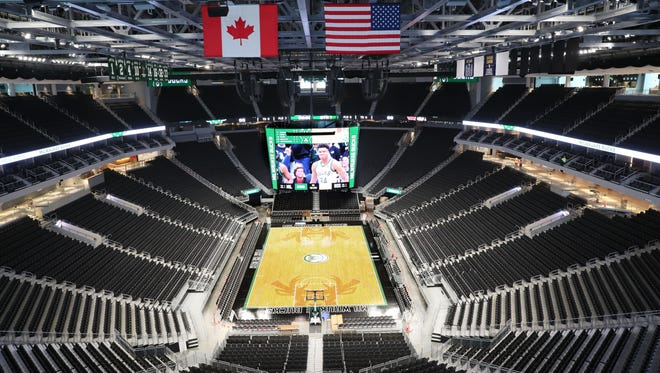 A view of the main bowl of Fiserv Forum.