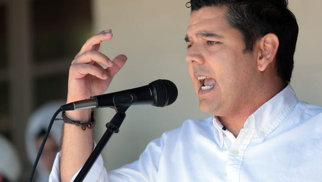 U.S Rep. Raul Ruiz, D-Palm Desert speaks at the Palm Springs Keep Families Together rally at Frances Stevens Park along North Palm Canyon Drive in Palm Springs.