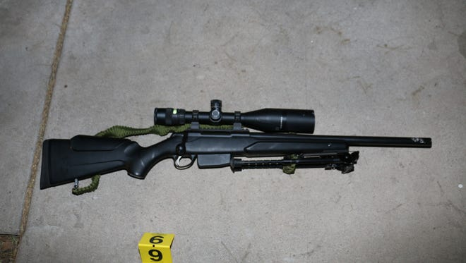 """Joshua Kinnard, 37, pointed this rifle at Gilbert police officers Feb. 26 while they trying to de-escalate Kinnards """"erratic"""" behavior, officials said."""