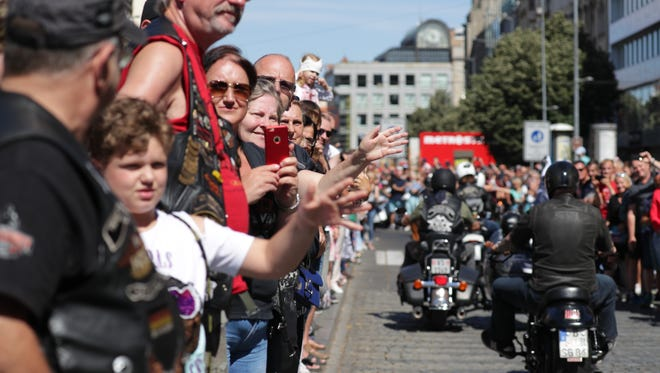 Thousands of people lined the streets of Prague, in the Czech Republic, for Harley-Davidson Inc.'s 115th anniversary celebration in Europe on July 7.