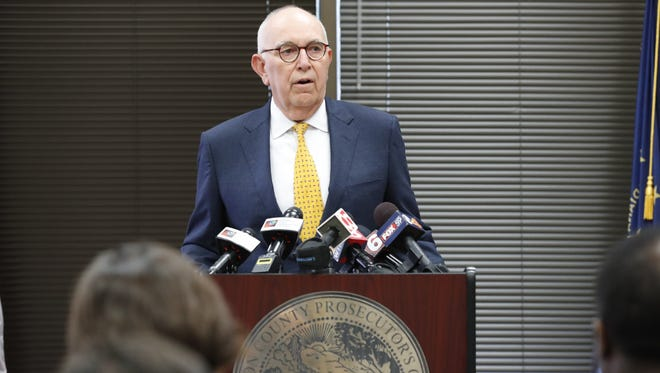 Marion County Prosecutor Terry Curry announces that he will see a special prosecutor in the investigation of groping allegations against Indiana Attorney General Curtis Hill during a press conference in Indianapolis on Tuesday, July 10, 2018. Curry sited legal entanglements between the two offices.