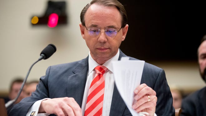 Deputy Attorney General Rod Rosenstein appears before a House Judiciary Committee hearing June 28, 2018, on Capitol Hill in Washington. A group of 11 House Republicans have introduced articles of impeachment against Rosenstein, who oversees special counsel Robert Mueller's investigation into Russian election interference and President Donald Trump's 2016 campaign.