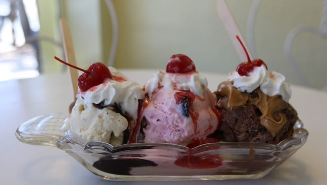 A banana split at the Independent Ice Cream Shop in Independence.