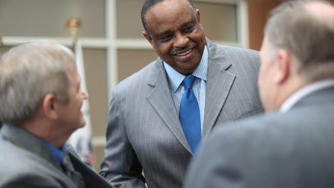 """Congressman Al Lawson on hand during a ceremony at the U.S. Department of Veterans Affairs Health Care Center in Tallahassee as it's renamed in honor of Marine Corps Sgt. Ernest """"Boots"""" Thomas Tuesday, Aug. 7, 2018."""